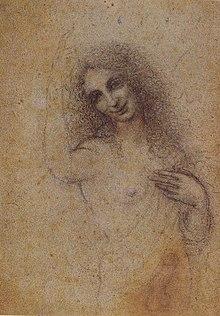 """The Incarnate Angel, (desenho a carvão, c. 1515) claramente relacionado com o quadro """"São João Batista""""."""