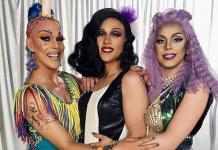 """Apresentadoras de """"Drag Me As A Queen"""" ganham jingle especial e vão desfilar em trio elétrico no Carnaval. Vinheta com Ikaro Kadoshi, Rita Von Hunty e Penelopy Jean já está no ar"""