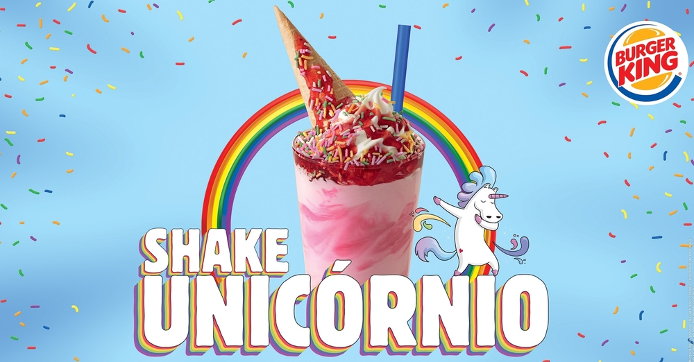 Marca lança produto e ativações que homenageiam a diversidade, e patrocina a Parada do orgulho LGBT de SP burger king milkshake unicornio