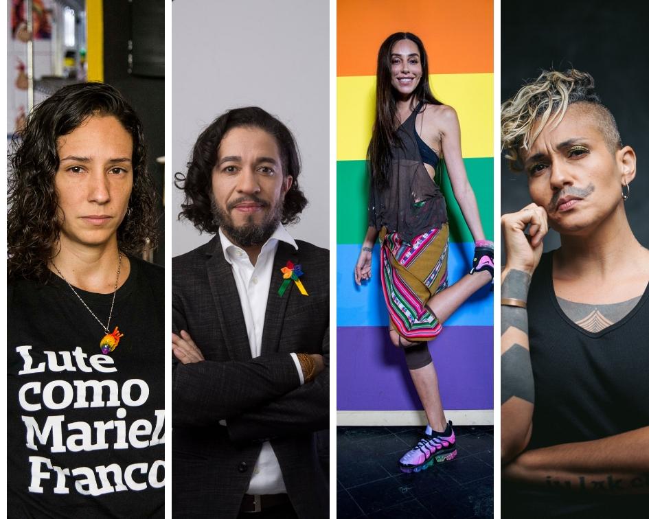 Foto: Divulgação. Esquerda para direita: Monica Benício, Jean Wyllys, Lea T e Pri Bertucci