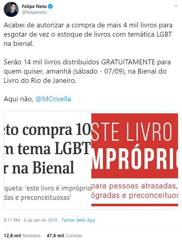 Tweet de Felipe Neto