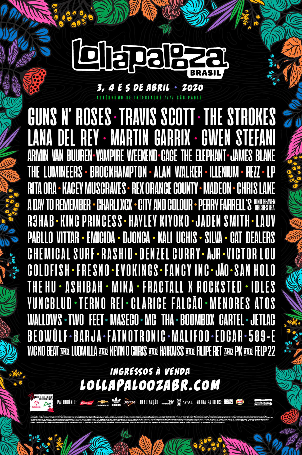 Lana del Rey, Gwen Stefani e Pabllo Vittar estão no line-up do Lollapalooza 2020