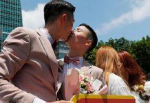 Em Taiwan, o governo autorizou a união parou de conceder direitos plenos de adoção de pessoas do mesmo sexo