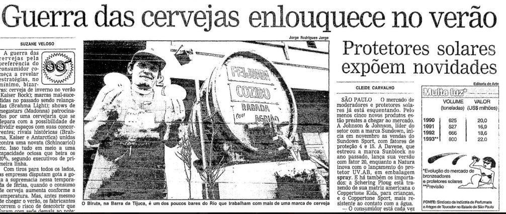 """As duas cervejarias não economizavam dinheiro para as campanhas. A Brahma tinha como slogan """"a nº 1"""", pois vendia um pouco mais que a Antarctica, cujo mote era """"Paixão nacional""""."""