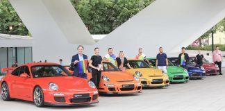 Rainbow na Porscheplatz - Andreas Haffner, membro do Conselho Executivo de Recursos Humanos, apoiou as atividades que ocorreram no fim de semana