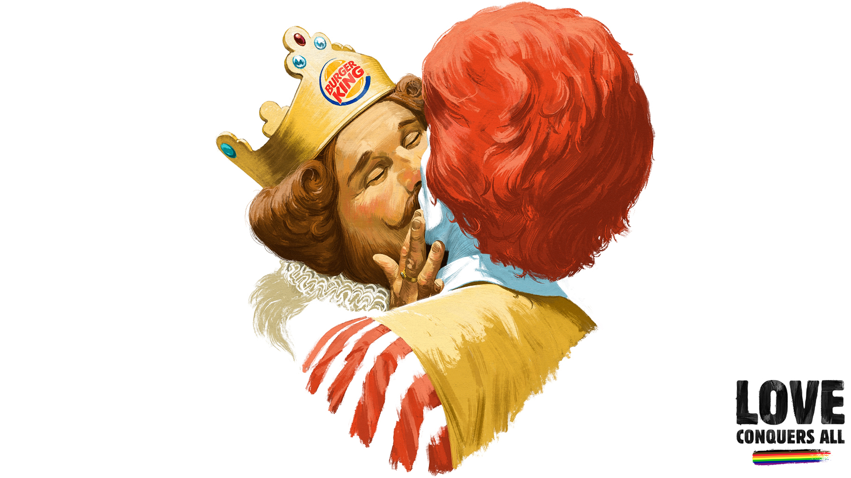 Mascote do Burger King beija Ronald McDonald´s na Finlândia