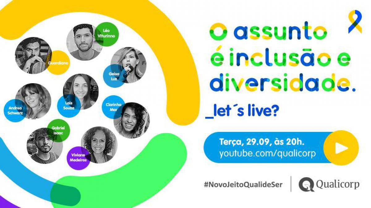 A Qualicorp vai promover, a partir das 20h da próxima terça-feira, dia 29 de setembro, uma live para promover e valorizar a diversidade e a inclusão.