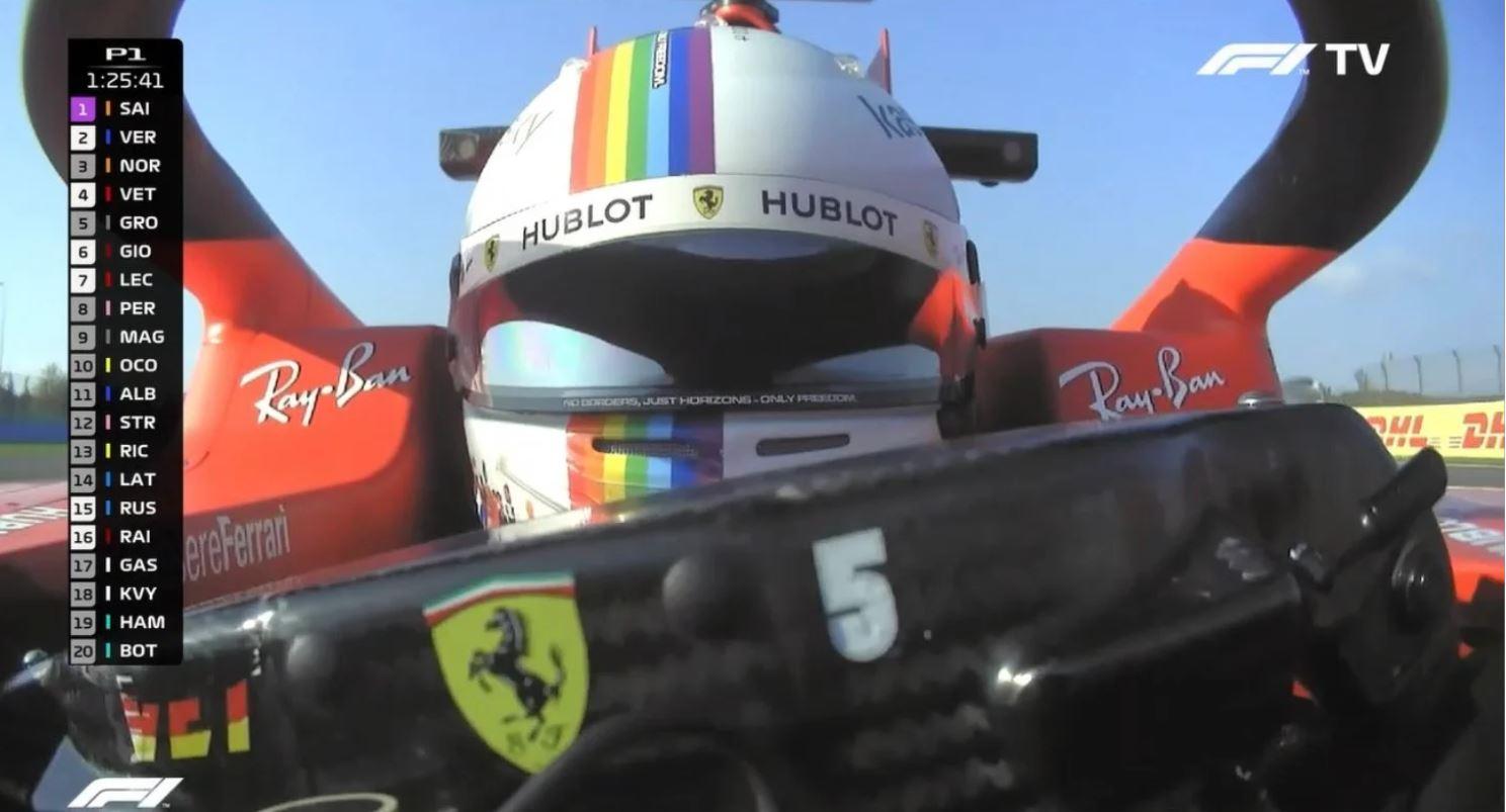 El piloto Sebastian Vettel usa casco con arcoíris en país LGBTfóbico