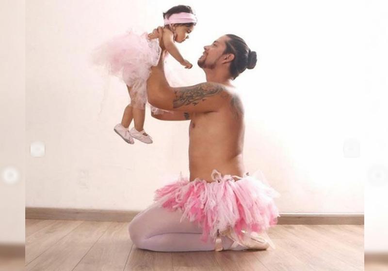 """Pai é criticado por se vestir bailarina: """"Gente, é só uma roupa"""""""